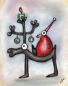 Cartoon: Elchtest (small) by ninaboosart tagged weihnachten,elch,elchtest,winter,weihnachtsmann