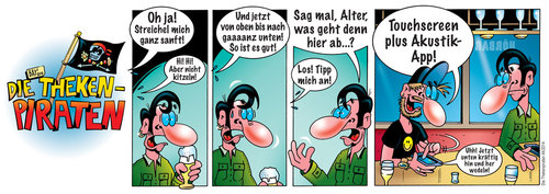 Cartoon: Die Thekenpiraten 44 (medium) by stefanbayer tagged theke,piraten,thekenpiraten,gastronomie,bier,alkohol,kommunikation,digital,app,handy,smartphone,pad,tablettcomputer,ipad,kitzeln,streicheln,erotik,akustik,application,touchscreen,stefan,bayer,stefanbayer