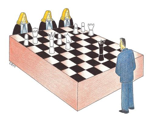 Cartoon: chess in court (medium) by cemkoc tagged judge,defense,court,chess,cartoons,law,karikatürleri,hukuk,judgement,justice,defendant