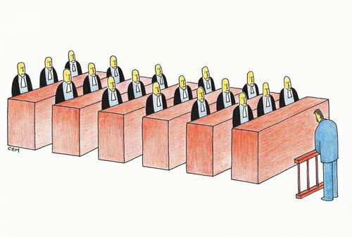 Cartoon: defendant and judges (medium) by cemkoc tagged karikatürü,hukuk,abogado,droit,legal,richter,attorney,lawyer,prosecution,tribunal,trial,defendant,supreme,law,justice,judicial,judge,judgement,court,cartoons