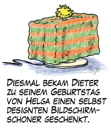 Cartoon: Bildschirmschoner (medium) by Andreas Pfeifle tagged bildschirm,bildschirmschoner,geschenk,geschenkidee
