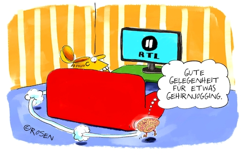 Cartoon: Gehirnjogging (medium) by Holga Rosen tagged tv,programm,tv,programm,rtl,gehirnjogging,gehirn,hirnlos