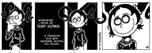 Cartoon: Donna Chaotic - Nine Inch Nails (medium) by gothink tagged nine,inch,nail,trent,reznor,funny,feeling,girl,teen,music,punk,goth,metal,alternative,underground,horror,comic,strip
