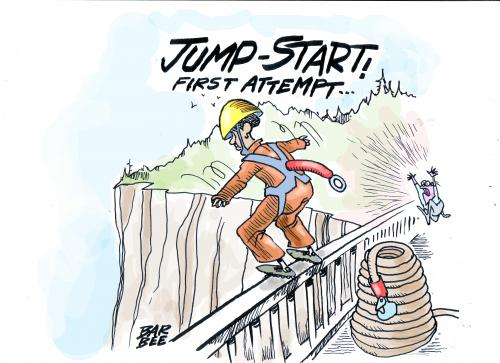 Cartoon: JUMP START the economy (medium) by barbeefish tagged better,get,it,right