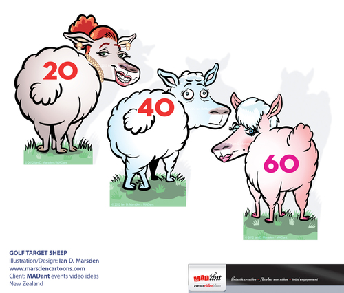 Cartoon: Golf Target sheep (medium) by ian david marsden tagged golf,cartoon,sheep,new,zealand