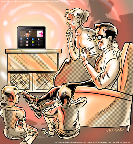 Cartoon: TV now on tablet devices and PCs (medium) by ian david marsden tagged tv,television,online,tablet,device,pc,computer,network,cable,cartoon,illustration,illustrator,marsden