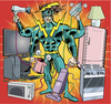 Cartoon: Energie Verschwender Man (small) by ian david marsden tagged super hero superhero energy household wasting strom sparen renewable energies comic cartoon bd zeichner illustrator marsden