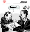 Cartoon: G8 Deauville (small) by portos tagged berlusconi,obama,italia,dittatura,dei,giudici,g8