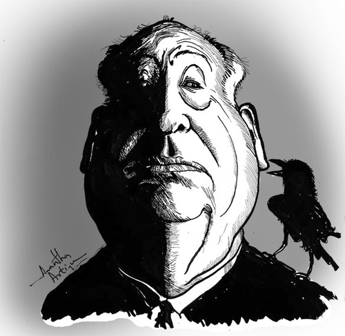 Cartoon: Alfred Hitchcock (medium) by awantha tagged hitchcock,alfred