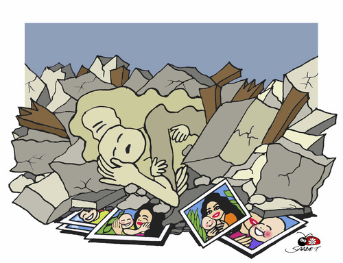 Cartoon: EARTHQUAKE... (medium) by saadet demir yalcin tagged syalcin