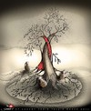 Cartoon: to bid farewell (small) by saadet demir yalcin tagged saadet,syalcin,sdy,turkey,world,human,peace