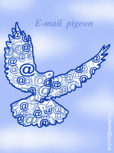 Cartoon: E MAIL  PIGEON (medium) by T-BOY tagged pigeon,mail
