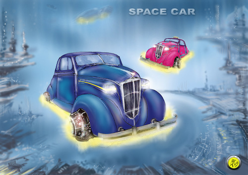 Cartoon: SPACE CAR (medium) by T-BOY tagged space,car