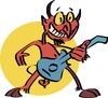 Cartoon: Metallic devil (small) by geomateo tagged heavy metal band rock and roll music psychedelic devil