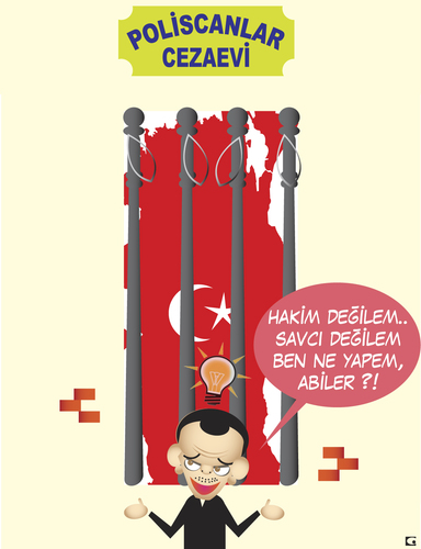 Cartoon: poliscanlar cezaevi (medium) by gulekk tagged turkey,turkish,prime,minister,police,jailhouse,flag,map