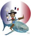 Cartoon: the new sheriff in town (small) by gulekk tagged france,shark,role,blood,thirsty,hungry,sarkozy,sheriff