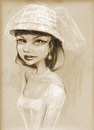 Cartoon: her special day (small) by michaelscholl tagged wedding,dress,hat,bride,woman