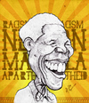 Cartoon: Nelson Mandela (small) by bharatkv tagged nelson,mandela,racism,apartheid,south,africa,president,caricature,cartoon,bharat,sketch