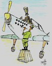 Cartoon: Pilot (small) by Mirek tagged war,witch,airplane