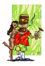 Cartoon: Tiki-Dude (small) by Toeby tagged tiki,hawaii,bikini,mädchen,girl,cocktail,strand,sommer,beach,summer,toeby