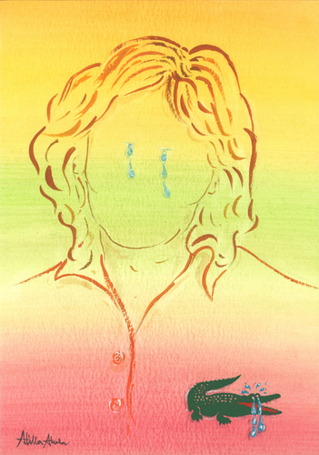 Cartoon: Crocodile tears (medium) by Atilla Atala tagged crocodile,tears,lie,psychology