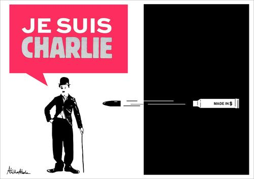 Cartoon: JE SUIS CHARLIE (medium) by Atilla Atala tagged sharlo,chaplin,attack,security,artist,death,press,cartoonists,paris,terror,charlie,hebdo