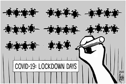 Cartoon: Covid 19 lockdown days (medium) by sinann tagged covid,19,coronavirus,lockdown,days,number