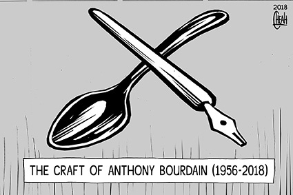 Cartoon: Craft of Anthony Bourdain (medium) by sinann tagged bourdain,anthony,food,writer,death