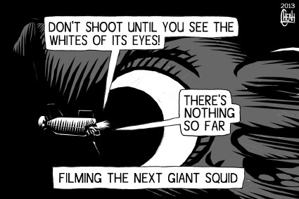 Cartoon: Giant squid filming (medium) by sinann tagged giant,squid,film,submersible,depths