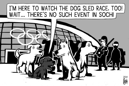 Cartoon: Sochi dogs (medium) by sinann tagged sochi,olympics,dogs,2014,stray,kill,cull