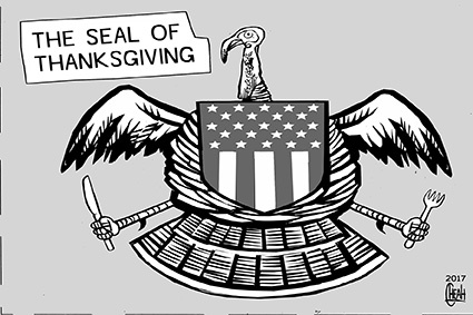 Cartoon: Thanksgiving seal (medium) by sinann tagged thanksgiving,america,seal,united,states