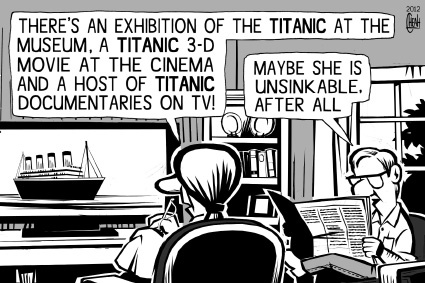Cartoon: Titanic anniversary (medium) by sinann tagged museum,exhibition,unsinkable,anniversary,titanic