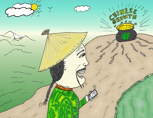 Cartoon: Chinese Growth (medium) by BinaryOptions tagged binary,option,trader,options,trading,caricature,china,chinese,growth,pot,gold,mobile,computer,technology,traditional,clothing,hat,optionsclick