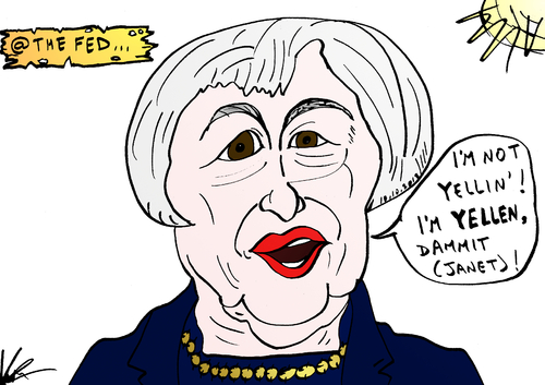 Cartoon: Janet Yellen comic parody (medium) by BinaryOptions tagged janet,yellen,fed,chief,chairman,chairwoman,nominee,federal,reserve,monetary,policy,binary,option,options,trader,invest,financial,money,optionsclick,editorial,cartoon,caricature,political,business,news