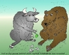Cartoon: Bull and Bear caricature (small) by BinaryOptions tagged binary,option,options,trader,trading,cartoon,caricature,bull,bear,financial,capital,market,apple,money,anima,animals,comic