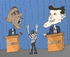 Cartoon: Caricature OBAMA ROMNEY en debat (small) by BinaryOptions tagged president,barack,obama,gouverneur,mitt,romney,etats,unis,amerique,american,political,politique,medias,arbitre,nfl,caricature,editoriale,dessin,anime,comique,entreprise,optionsclick,trader,options,binaires,negociation,commerce,nouvelles,news,infos,actualit
