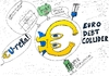 Cartoon: Euro Debt Collider (small) by BinaryOptions tagged binary,options,trading,trader,euro,eur,euroman,debt,collider,caricature,comic,superhero,optionsclick,financial,investor,market