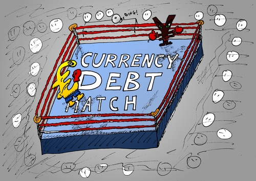 Cartoon: Euro Yen currency debt match (medium) by BinaryOptionsBinaires tagged binary,option,trader,options,trading,euro,yen,eur,jpy,forex,optionsclick,boxing,currency,debt,match,fight,webcomic