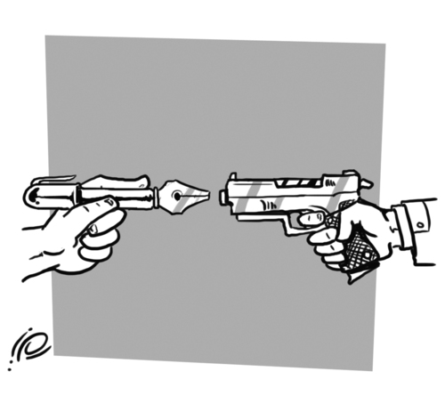 Cartoon: Power of Jurnalism (medium) by ramzytaweel tagged occupation,jurnalism,gun