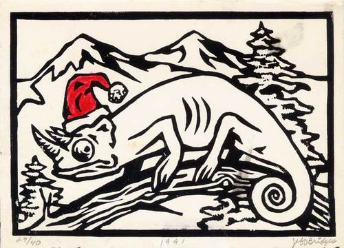 Cartoon: Christmas Card 1991 (medium) by vokoban tagged pen,and,ink,doodle,drawing,print,lino,cut,scribble,pencil
