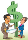 Cartoon: China and Russia against dollar (small) by kranev tagged president,medvedev