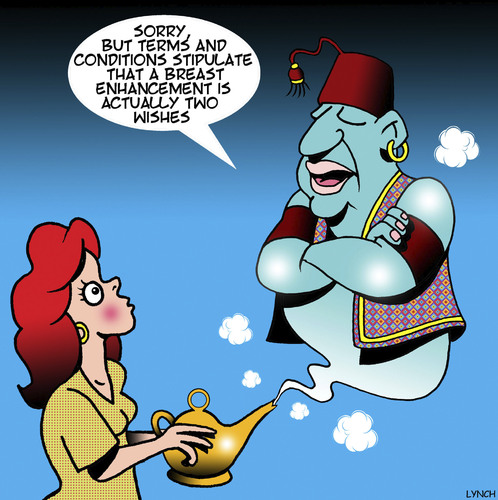 Cartoon: Breast enhancement (medium) by toons tagged genie,in,bottle,breast,enhancement,three,wishes,terms,and,conditions,plastic,surgery,genie,in,bottle,breast,enhancement,three,wishes,terms,and,conditions,plastic,surgery