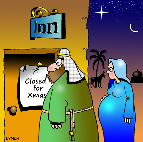 Cartoon: Closed for Xmas (medium) by toons tagged christmas,xmas,bethleham,religion,jesus,god,mary,and,joseph,three,wise,men,inn,hotel,accomodation,rooms,donkey,stars,birth,babies,imaculate,conception