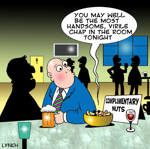 Cartoon: complimentary nuts (medium) by toons tagged compliments,manners,nuts,peanuts,cashew,virility,handsome,pubs,bars,beer,drinking