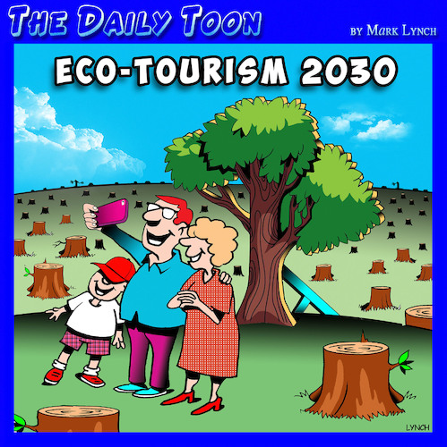 Cartoon: Eco tourism (medium) by toons tagged wood,chopping,tourism,forests,climate,change,wood,chopping,tourism,forests,climate,change