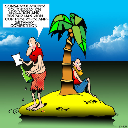 Cartoon: Essay competition (medium) by toons tagged essay,competition,desert,island,getaway,contest,winner,message,in,bottle,essay,competition,desert,island,getaway,contest,winner,message,in,bottle
