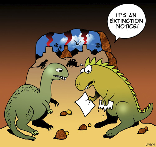 Cartoon: Extinction notice (medium) by toons tagged homeless,eviction,extinct,age,stone,dinosaurs,dinosaurs,stone,age,extinct,eviction,homeless