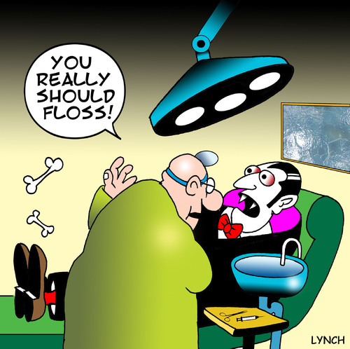 Cartoon: Flossing (medium) by toons tagged dentist,dental,care,teeth,dentures,vampires,gums,flossing,toothpaste
