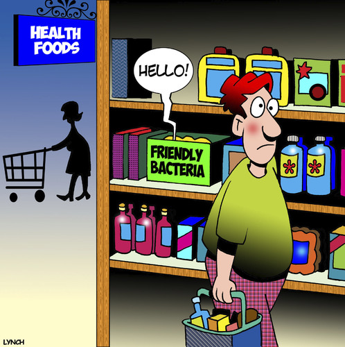 Cartoon: Friendly bacteria (medium) by toons tagged health,foods,friendly,bacteria,healthy,living,diet,greetings,supermarket,shopping,trolley,health,foods,friendly,bacteria,healthy,living,diet,greetings,supermarket,shopping,trolley
