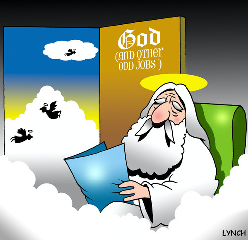 Cartoon: God and other odd jobs (medium) by toons tagged god,heaven,angels,odd,jobs,handyman
